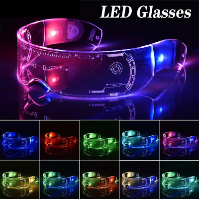 $11.90 • Buy Halloween Clubbing Light Up Clear Lenses 7 Color LED Light Glasses Cosplay Party