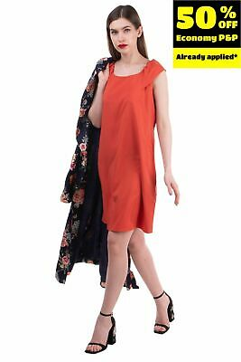 AU1.87 • Buy RRP€115 MOTIVI Shift Dress Size 46 / L Stretch Cap Sleeve Made In Italy