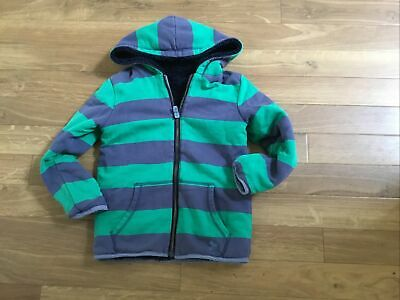 £3.20 • Buy Mini Boden Boys Shaggy Lined Blue & Green Striped Hoody Size 7/8 Yrs Reversible