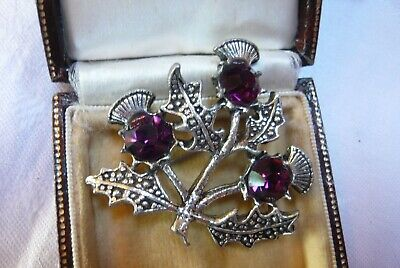 £9.99 • Buy Vintage Jewellery Signed Miracle Amethyst Thistle Brooch Pin