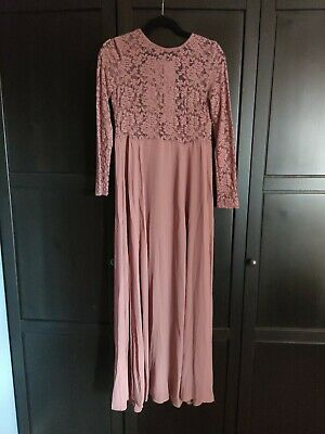 £0.99 • Buy Size Small Dusty Pink Rose Mauve Floor Length Long Sleeve Dress With Lace Bodice