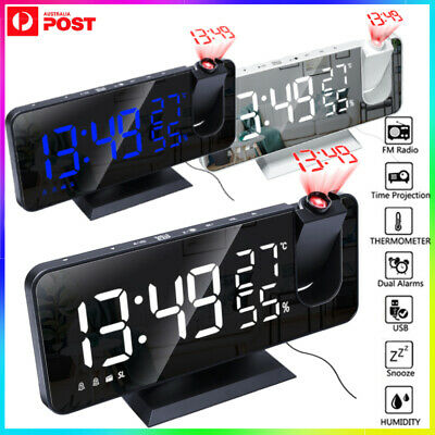 AU38.59 • Buy Alarm Clock Smart Digital LED Projection Temperature Time Projector LCD Display