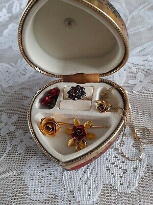 £8 • Buy Heart Shaped Vintage Jewellery Box With Contents Rose Earrings Pendant Hair Clip