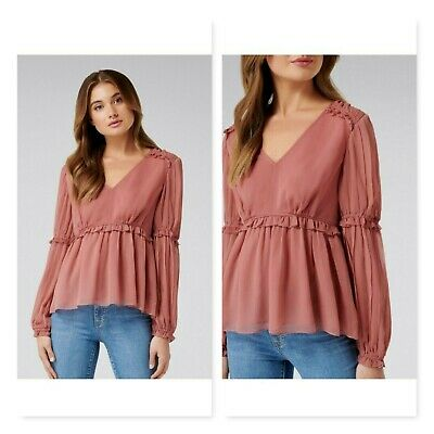 AU55 • Buy FOREVER NEW | Womens Bella Gather & Frill Blouse Top  [ Size AU 10 Or US 6 ]