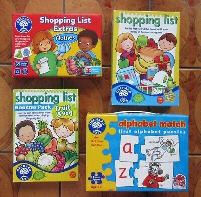 AU31.52 • Buy 4 Orchard Toys * Shopping List * Fruit & Veg & Clothes Boosters * Match & Spell