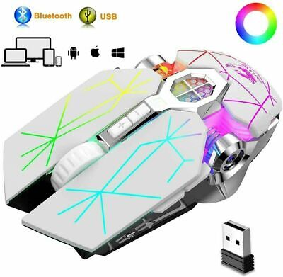 AU26.89 • Buy Wireless Rechargeable Bluetooth Gaming Mouse RGB Breathing Light USB For PC MAC