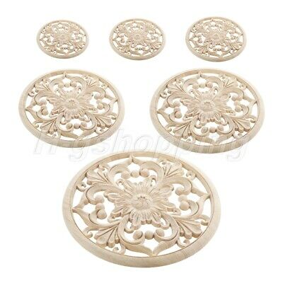 AU8.99 • Buy 1Pc Unpainted Furniture Onlay Applique Wood Carved Flower Decal For Home Decor