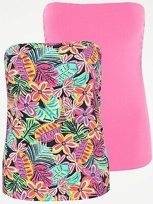 £9.99 • Buy 2 Pack Pink Floral + Pink Stretch Bandeau Boob Tube Summer Tops Sizes UK 12 - 20