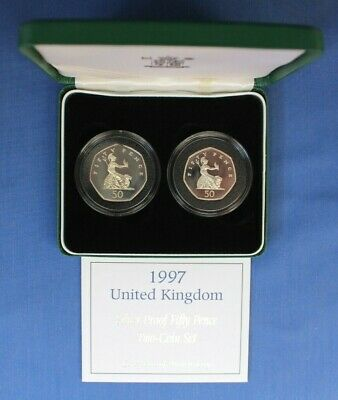 £34.50 • Buy 1997 Silver Proof 50p Coin Set  Large & Small  In Case With COA