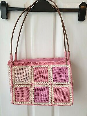 £4.99 • Buy Pink/white Bag Made From 100% Paper Straw. Quirky.