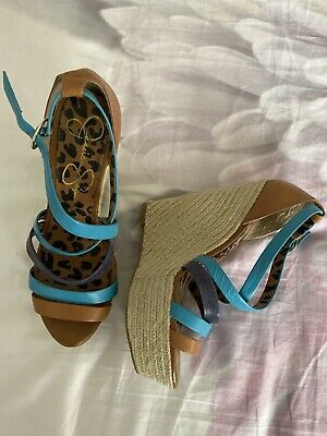 £13.99 • Buy Jessica Simpson Strappy Wedges Shoes Tan Btown And Blue UK5