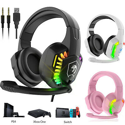 AU31.01 • Buy 3.5mm Gaming Headset With Mic RGB Headphones For PC PS4 PS5 Xbox Nintendo Switch