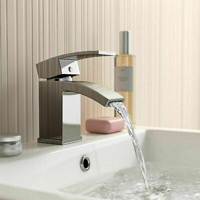 £21.99 • Buy Modern Mono Basin Sink Mixer Tap Slotted Waste Curved Spout Chrome Cloakroom