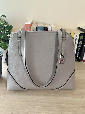 AU178 • Buy Kate Spade Grey Neutral Dome Bag Tote Shoulder Leather Authenti FREE POSTAGE
