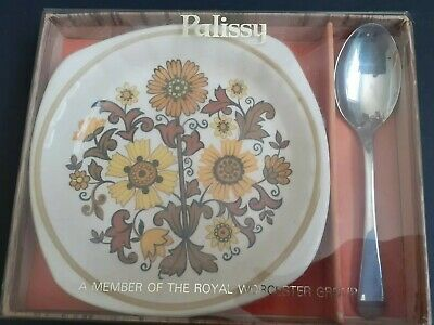 £9.99 • Buy Vintage Royal Worcester Palissy Small Preserve Jam Dish And Spoon Boxed