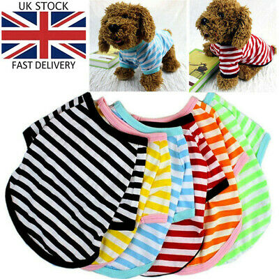 £3.97 • Buy Small Dog T-Shirt Vest Pet Puppy Cat Summer Striped Clothes Top Outfit Costume