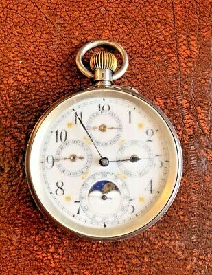 £750 • Buy WORKING Antique Silver Moon Phase Pocket Watch Swiss Case Arabic Numeral Dial