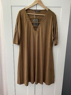 AU25 • Buy New Tags PINK CLOVE For Asos Plus Size 20-22 Brown Suede Boho Hippie Mini Dress