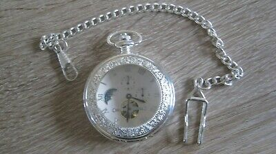 £19.95 • Buy Moon Phase Mechanical Pocket Watch Excellent
