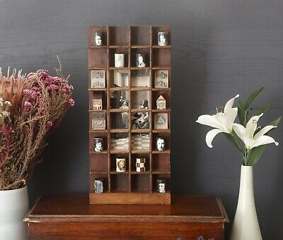 £59 • Buy Vintage Wooden Printers Tray Display Case With Quirky Curios And Vintage Items.