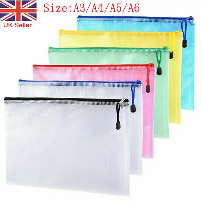 £2.12 • Buy A3/A4/A5 Plastic Zip File Bags Storage Document Folder Protective Wallet Pockets
