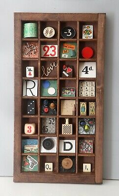 £59 • Buy Quirky Games Themed Artwork In  Vintage Wooden Printers Tray Display Case