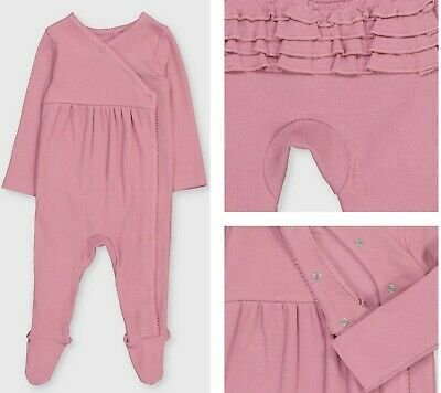 £5.99 • Buy Baby Girls TU Sleepsuit Pink Frilly Spanish Ribbed Baby Grow All In One 0-3 NEW