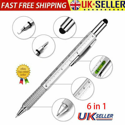 £3.69 • Buy 6 In 1 Gadget Pen Multi Tool Spirit Level Ruler Screwdriver Stylus Fathers Day
