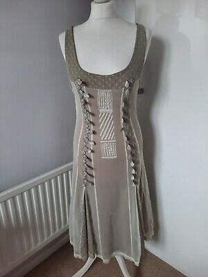 AU91.95 • Buy SAVE THE QUEEN XL 12-14 Beige Cream Corset Style Fit And Flare Mesh Midi Dress
