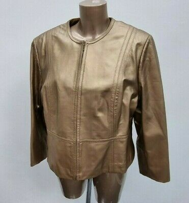 £48.99 • Buy £99 NEW Women's M&S Gold Zipped 100% Fine Real Leather Jacket Size 20