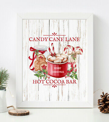 £4.50 • Buy CHRISTMAS PRINT CANDY CANE LANE Red Hot Cocoa Winter Xmas PICTURE Poster A4 1