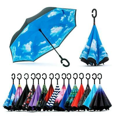 AU24.99 • Buy C-Handle Windproof Upside Down Reverse Umbrella Inside-Out Inverted Double Layer