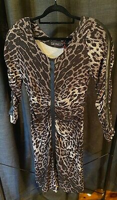 AU12.50 • Buy Sao Paulo Leopard Gathered Dress With Black Leather Look Detail Size 12