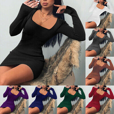£11.99 • Buy Womens Long Sleeve Tunic Wrap Knitted Bodycon Sweater Sexy Ladies Mini Dresses