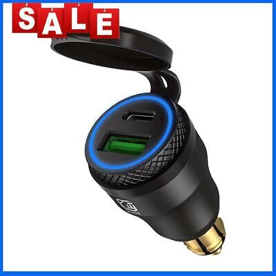 £9.79 • Buy DIN Plug To QC3.0 + PD USB Charger W/ LED Light For Motorcycle (Black+Blue)