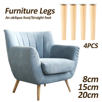 AU32 • Buy 4 PCS Wooden Furniture Legs + Pads Turned Feet Lounge Couch Sofa Cabinet  ~