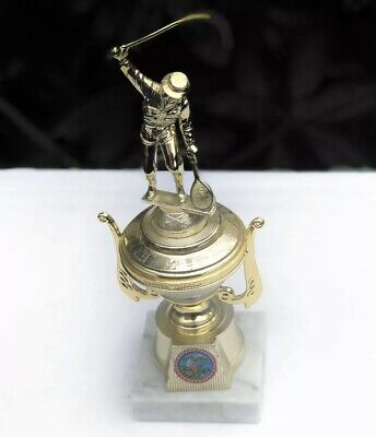 £29 • Buy Fine Italian Marble Fishing Angling Vintage Chalice Cup Gold Trophy Award Medal