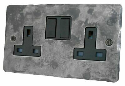 £24.95 • Buy G&H FR10B Flat Plate Rustic Silver 2 Gang Double 13A Switched Plug Socket