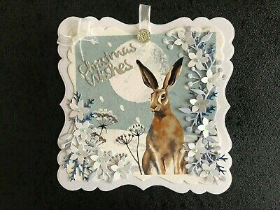 £1.99 • Buy Luxury Christmas Hare & Flowers Card Topper (P1)