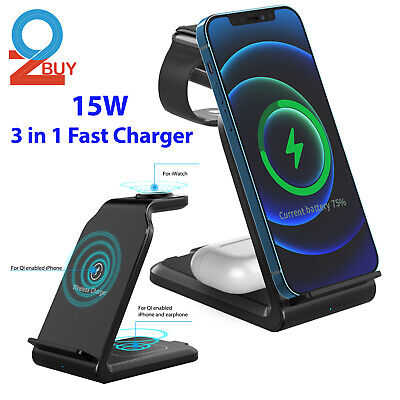 AU39.95 • Buy 3 In 1 Qi Wireless Charger Fast Charging Dock Stand For IWatch AirPod IPhone