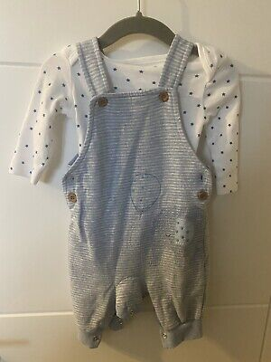 £2.40 • Buy Mothercare Blue Elephant Dungaree Set 1-3 Months
