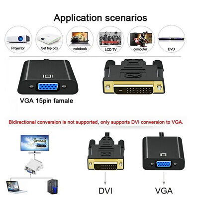 AU6.32 • Buy 1080p DVI-D 24+1 Pin Male To VGA 15Pin Female Active Cable Adapter Converter ^LU