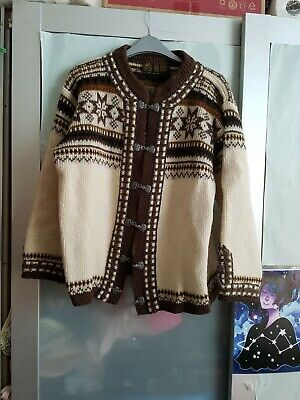 £14.40 • Buy NORLANDER Womens Brown Multi Aztec Long Sleeve Stitch Knitted Hook Up Cardigan