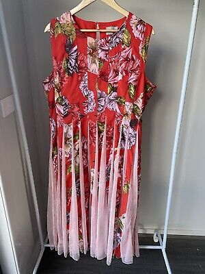 AU15 • Buy Asos Red Floral Maxi Dress Size 18 Pleated