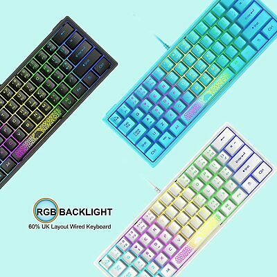 AU34.26 • Buy 60% Compact UK Layout Wired Gaming Keyboard RGB Backlit For PC/Laptop/Computer