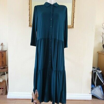 £12 • Buy Monsoon Botanical Green Layered/Tiered Maxi Dress -  Button Front. Ex Condition