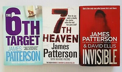 AU15 • Buy 3x James Patterson Books: 6th Target HC, 7th Heaven PB, Invisible HC Good Cond.
