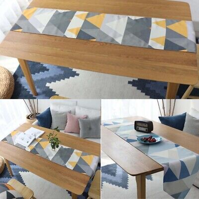 AU32.26 • Buy Cotton Linen Geometric Printed Table Runner Tablecloth Dining Room Kitchen Decor