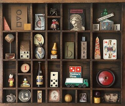 £75 • Buy Vintage Wooden Printers Tray Display Case With Quirky Curios And Vintage Items.