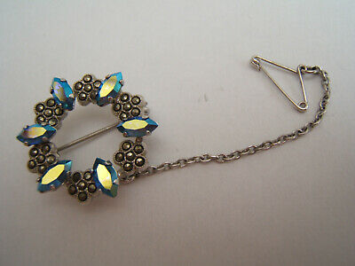 £3 • Buy Aurora Borealis And Marcasite Brooch With Safety Chain